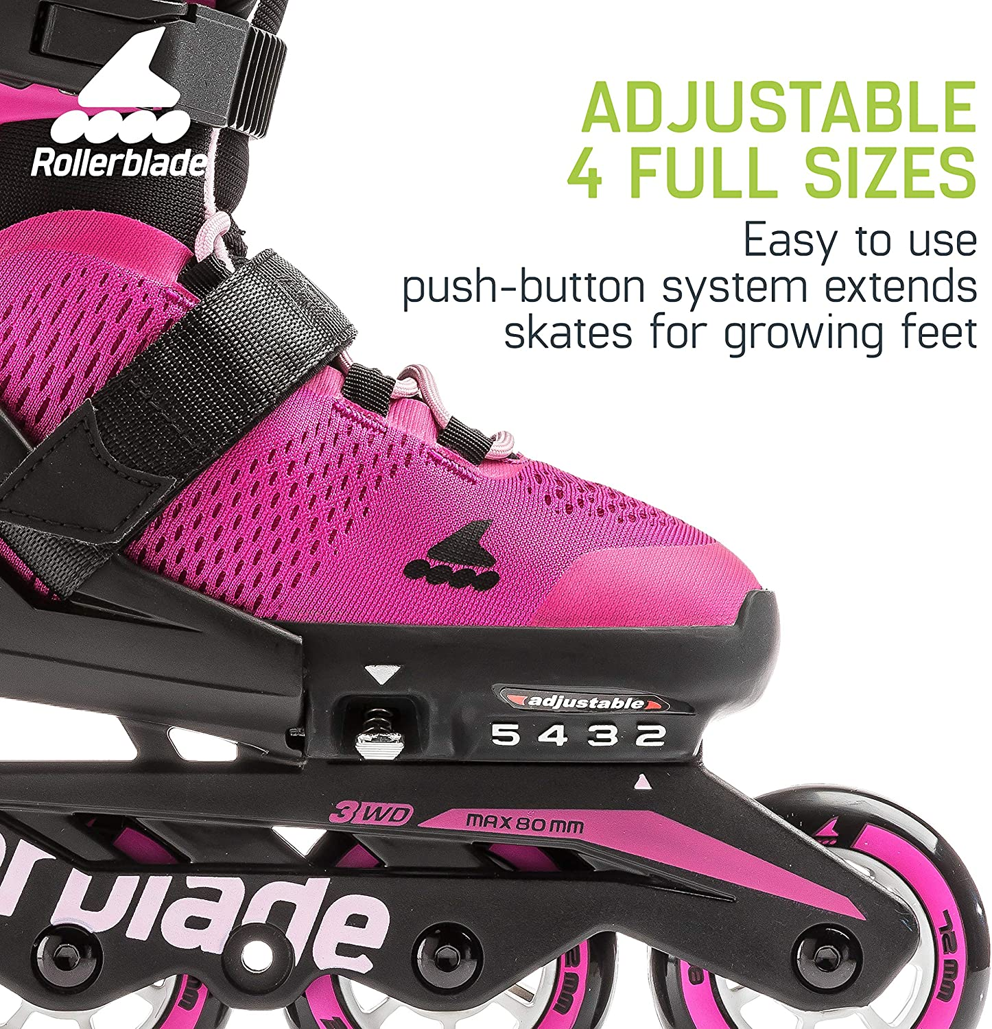 Rollerblade Microblade Girls Adjustable Fitness Inline Skates and 3 Pack of Protective Gear Junior Pink and Bubble Gum Youth Performance Inline Skates