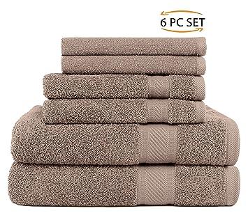 SweetNeedle - Uso diario Juego de toallas de 6 piezas, Lino - 2 toallas de baño 70x140 CM, ...