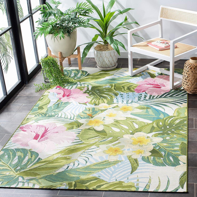 Amazon Com Safavieh Barbados Collection Bar516x Tropical Floral Indoor Outdoor Area Rug 5 3 X 7 6 Green Pink Furniture Decor