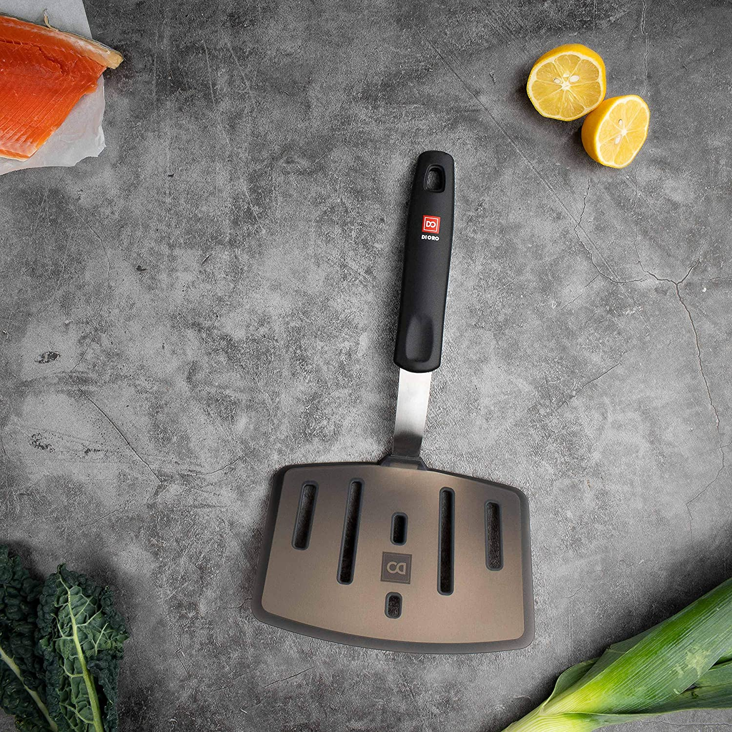 and Wide Slotted Turners New Di Oro Designer Series Elite 3-Piece Turner Spatula Set LFGB Certified and FDA Approved 600F Heat-Resistant Rubber Silicone Spatulas Includes Slotted Fish Omelet