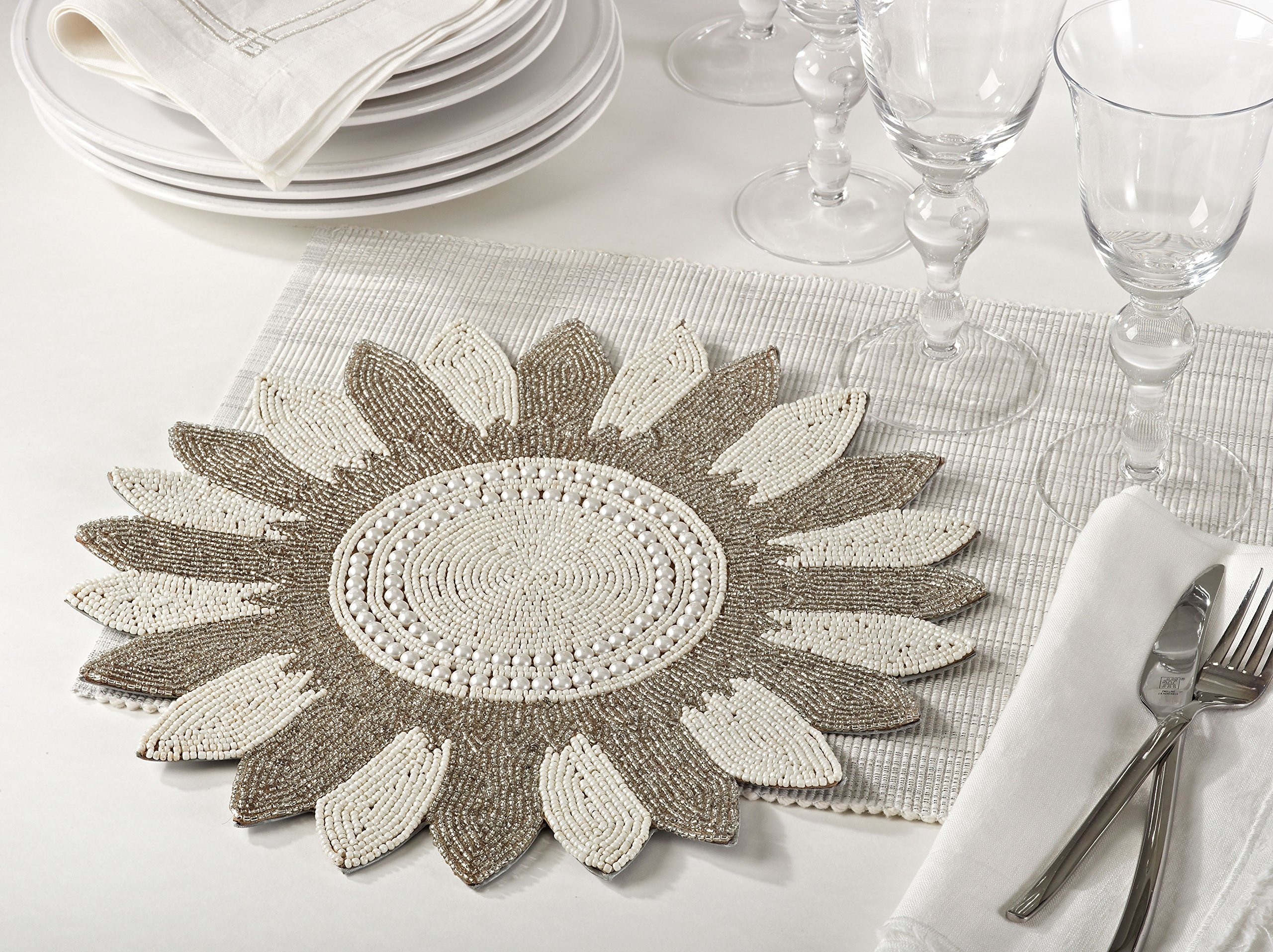 Multi Color Flower Design Beaded Placemat 14'' Round , (4 Piece Set) by Occasion Gallery (Image #2)