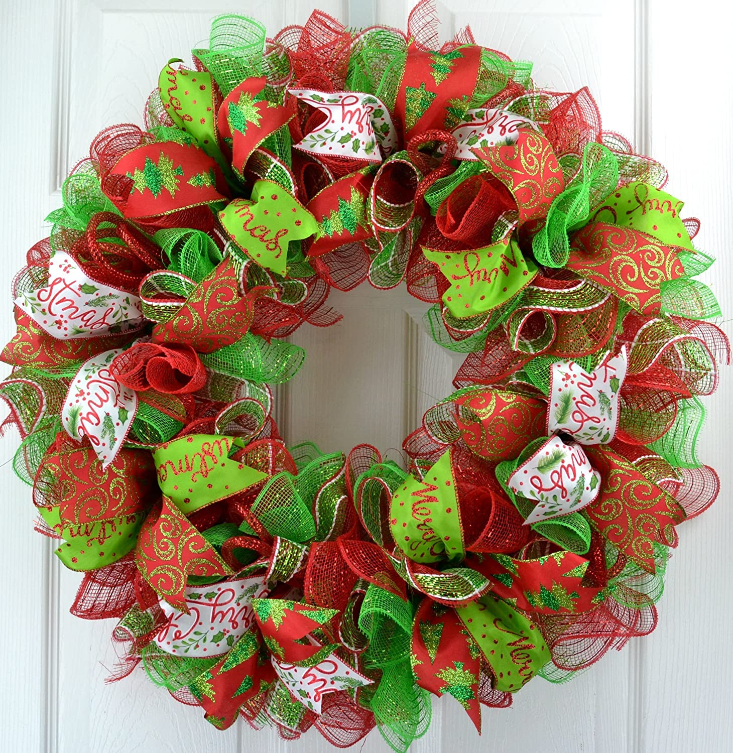 Red And White Christmas Wreath.Christmas Wreath Christmas Decoration Mesh Outdoor Front Door Wreath Red Lime Green White C1