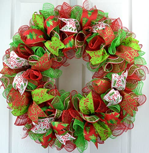 Christmas Ribbon Wreaths.Christmas Wreath Christmas Decoration Mesh Outdoor Front Door Wreath Red Lime Green White C1