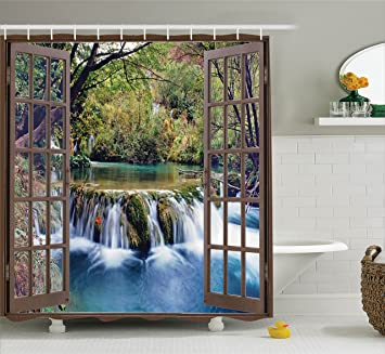 House Decor Shower Curtain Set By Ambesonne, Wide Waterfall Deep Down In  The Forest Seen