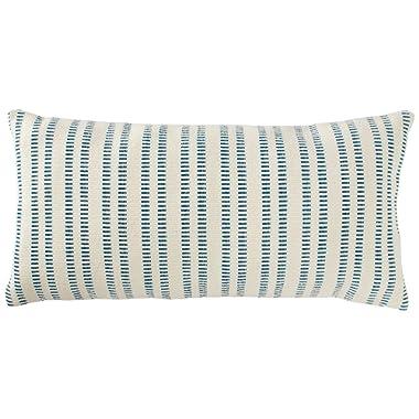 Stone & Beam French Laundry Stripe Pillow, 12  x 24 , Ivory, Turquoise