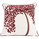 """BLUETTEK 18"""" X 18"""" Embroidered Cotton Linen Decorative Throw Pillow Cover Cushion Case Pillow Case - The Tree of Life (Red with Frame)"""