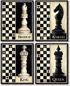 Check Mate! Classic King, Queen, Knight, Bishop Chess Piece Sign; Four 11 x 14 Poster Prints