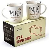 Janazala Happily Ever After Mr and Mrs Coffee Mugs For Couples, His and Hers Anniversary Gifts, Friends Engagement Wedding Married Parents Gift For Them (Happily)