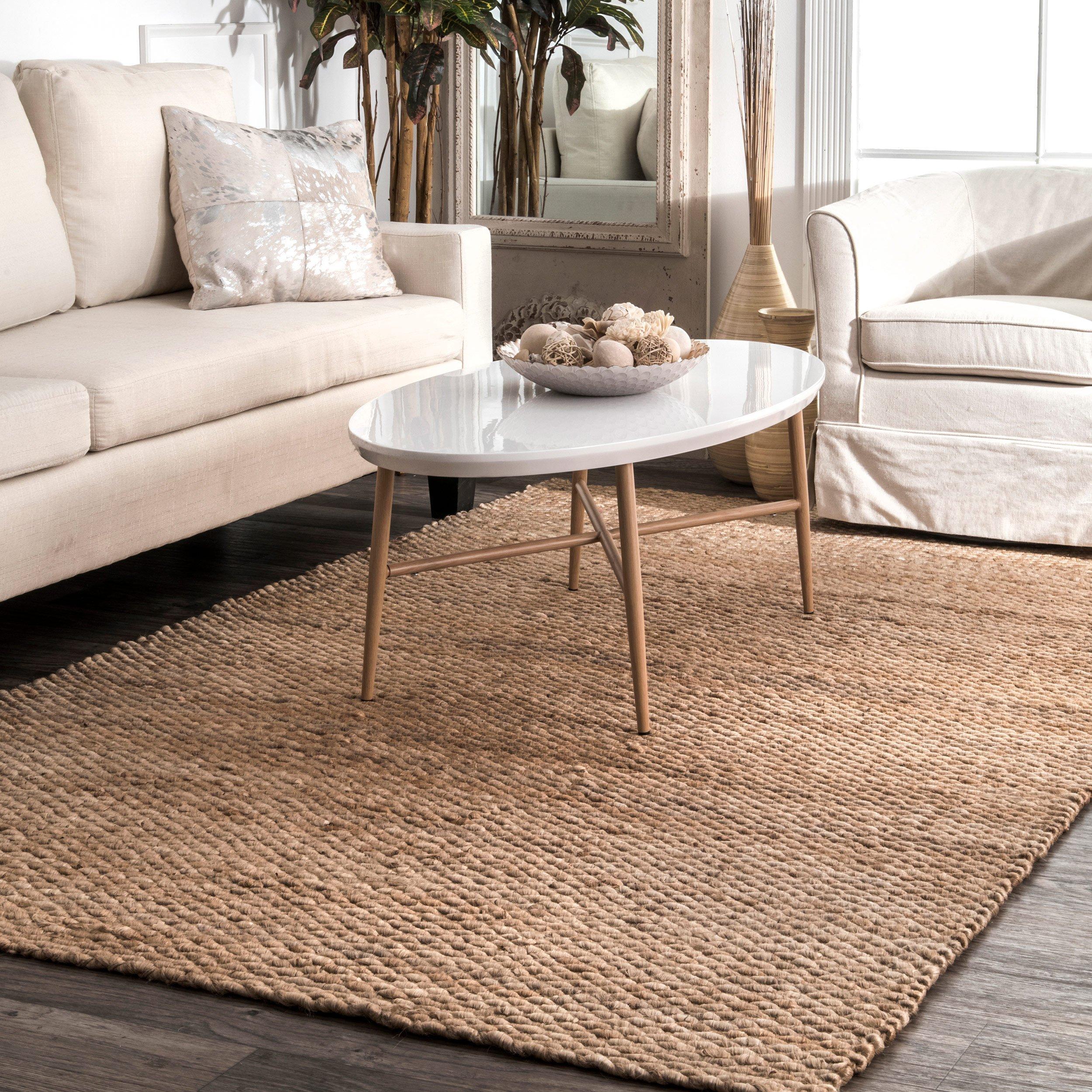 STS Indoor Outdoor Rug Jute Natural Color Rugs Natural Jute Area Runner Rug Handmade Reversible Living Room Patio Mats (2' 6'' x 8' Runner)