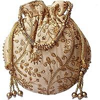 Designer Embroidered Silk Potli Bag Pearl Handle Purse Wedding Women's Handbag With Drawstring Closure & Tassels Cream Golden