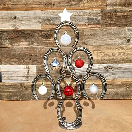 Mini Rustic Horseshoe Christmas Tree With Star And Ornaments