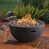 Great Deal Furniture Teresa Outdoor 34 Inch Grey Finish Light Weight Concrete Bowl Fire Pit - 40,000 BTU