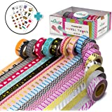 16 TRIPLED SIZED (33 ft), Hand-Picked Washi Tape Rolls by Artit, Decorative Craft Tapes, Scrapbooking & DIY ~ Ultra Sticky & Non-Toxic ~ Glitter, Patterns & Solids ~ Includes 4 Bonus Sticker Pages