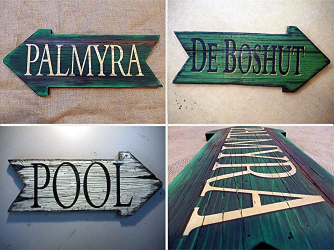 Custom Arrow Shaped Wooden Sign Personalized Gifts Rustic Decor Pool Signs Antique Decor Lake House Decor