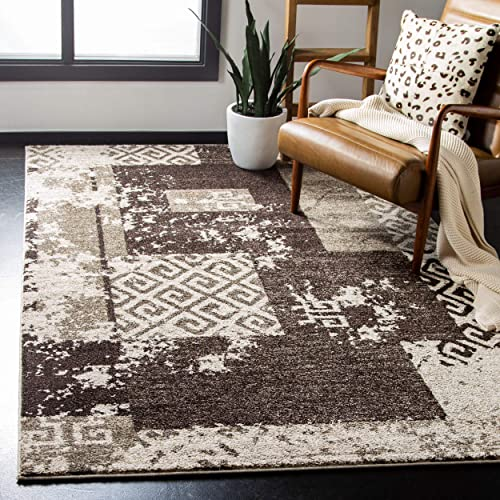 Safavieh Retro Collection RET2135-1125 Modern Abstract Geometric Patchwork Cream and Brown Area Rug 4 x 6