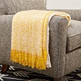 "Amazon Brand – Rivet Super Soft Oversized Ombre Stripe Brushed Weave Throw Blanket, 60"" x 80"", Mustard, White"