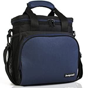 "Insulated Lunch Bag S1: InsigniaX Cool Back to School Lunch Box/Cooler/Lunchbox for Adult Women Men Work School Kids Girls Boys With Strap Bottle Holder H: 10"" x W: 5.1"" x L: 9.2""(Standard, Navy Blue)"
