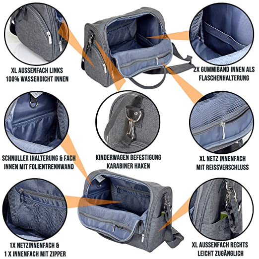 MIXIRL/® Wickeltasche geruchsneutral /& langlebig wasserabweisend mit integrierter Wickelunterlage /& Kinderwagenbefestigung f/ür unterwegs 35x12x34cm ideal f/ür jede Mama
