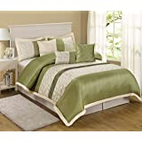 7 Piece Liverpool Jacquard Circle Patchwork Comforter Set (Queen, Olive)