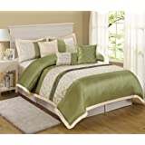 Amazon Price History for:7 Piece Liverpool Jacquard Circle Patchwork Comforter Set (Queen, Olive)