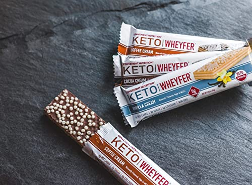 Convenient Nutrition Keto WheyFer Protein Snack Bars I Low Carb, Low Sugar, Ketogenic I Variety Pack 10 Count I Vanilla Cream, Cocoa Cream Coffee Cream Flavors