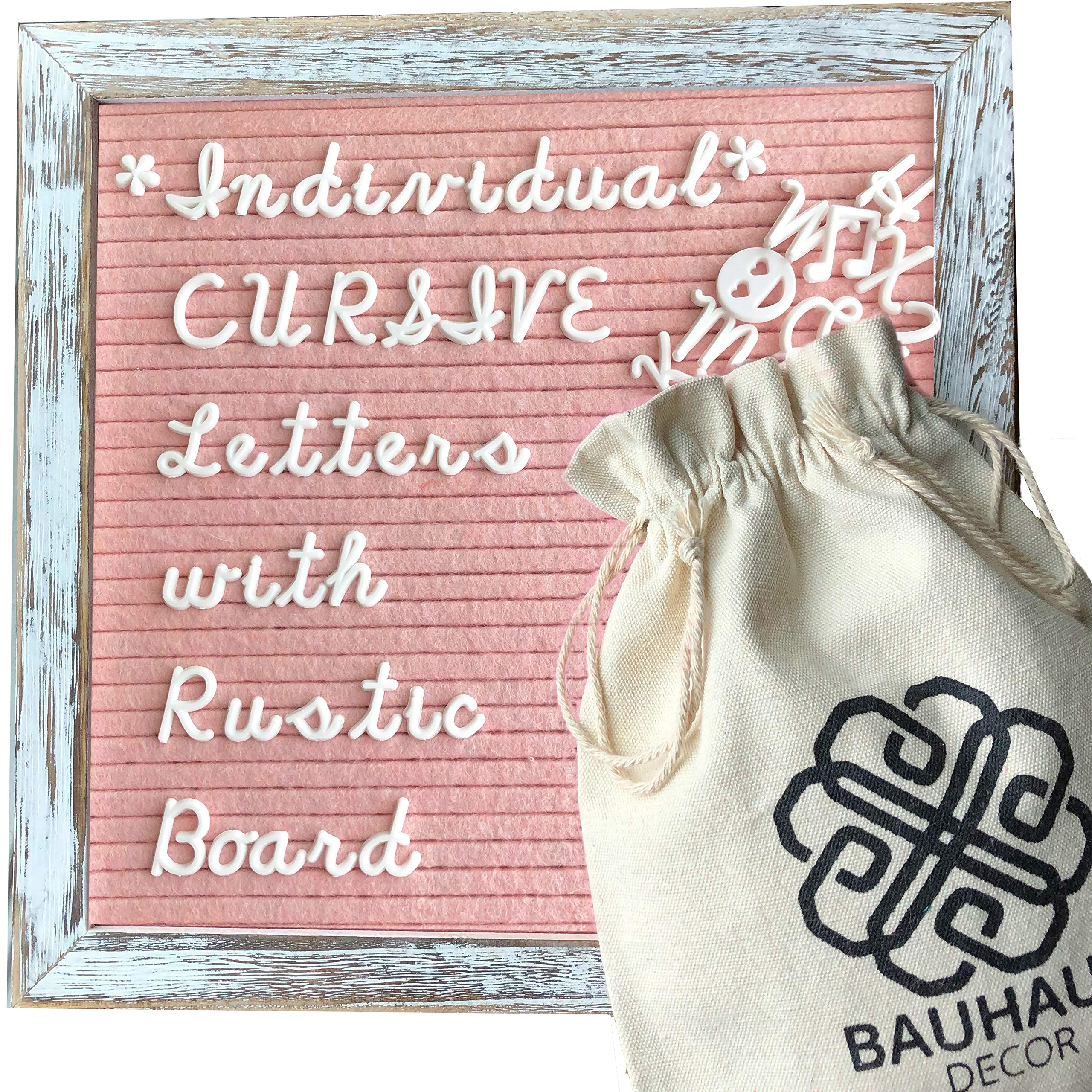 Cursive Style Letters - Blush Pink Felt Letter Board Set with 10x10 Rustic Farmhouse Wood Frame by Bauhaus Decor - Changeable Message Board with 395 White Letters, Numbers, and Emojis. by Bauhaus Decor