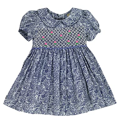 sissymini Infant   Toddler Super Soft Cotton Hand Smocked Dress Lala Dakota  - Printed Denim Classic 267cd8cf5