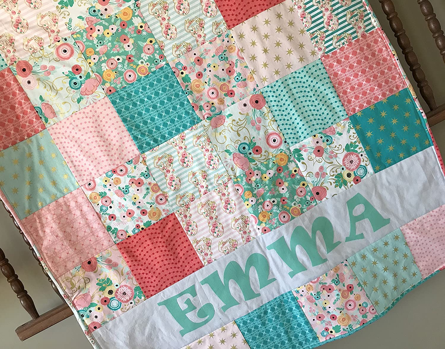 Personalized Bohemian Teal and Blush Pink Boho Floral Woodland Baby Girl Quilt - Crib Size