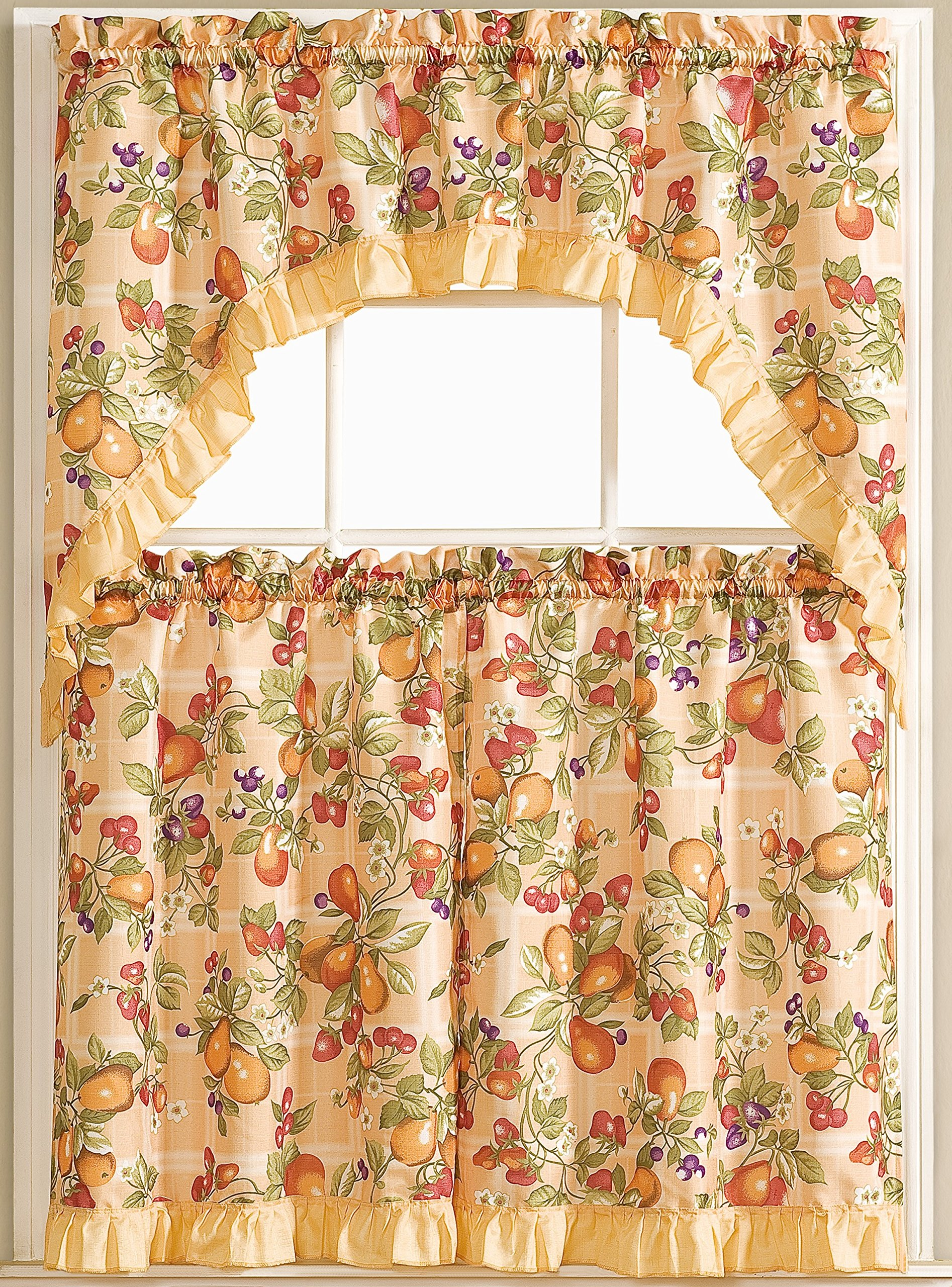 SALLY TEXTILES Printed 3 Piece Kitchen Curtain Set