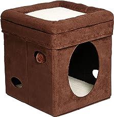 "MidWest - cubeta curioso para gatos, casa para gatos o condo, Brown Single Story, 15.1""L x 15.1""W x 16.5""H"