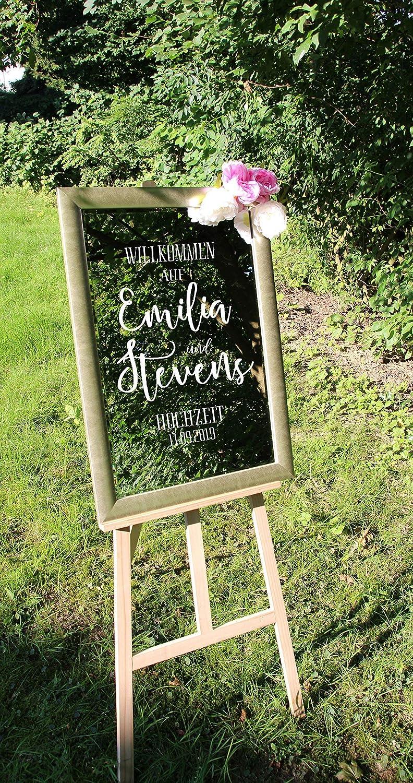 Aufkleber Schild Hochzeit Spiegel Willkommen