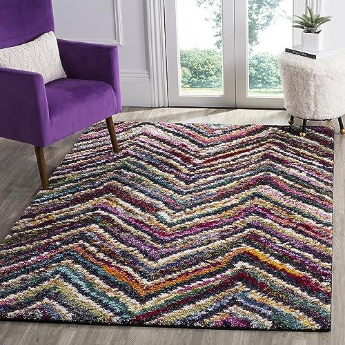 Safavieh Fiesta Shag Collection FSG363M Abstract Chevron Multicolored Area Rug 8 x 10