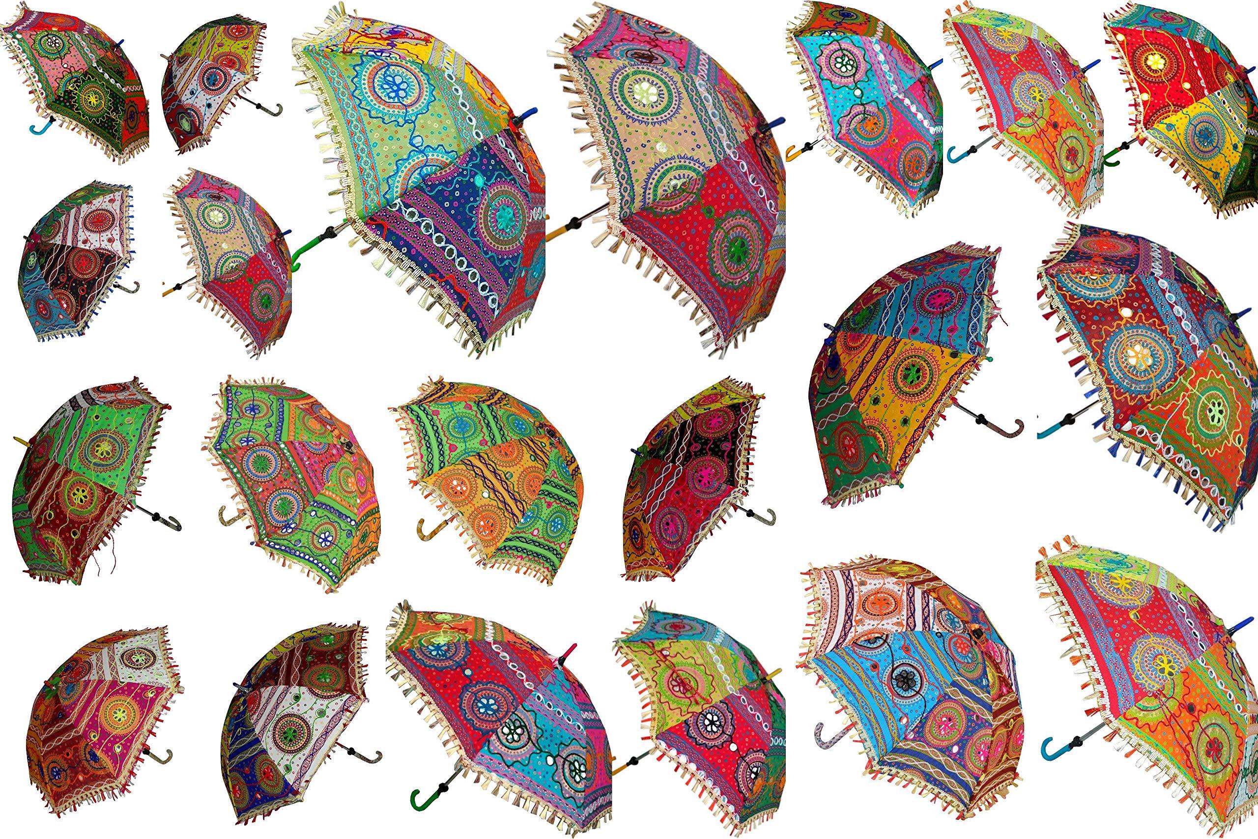 15 Pcs Mix Lot Indian Wedding Umbrella Handmade Embroidery Umbrella Decorations Mirror Work Vintage Parasols Cotton Umbrellas by Worldoftextile