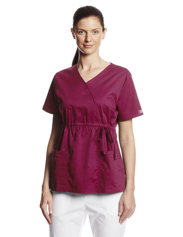 c61817f6cf3 Amazon.com: Cherokee Women's Workwear Scrubs Core Stretch Gathered-Front  Faux-Wrap Top: Medical Scrubs Shirts: Clothing