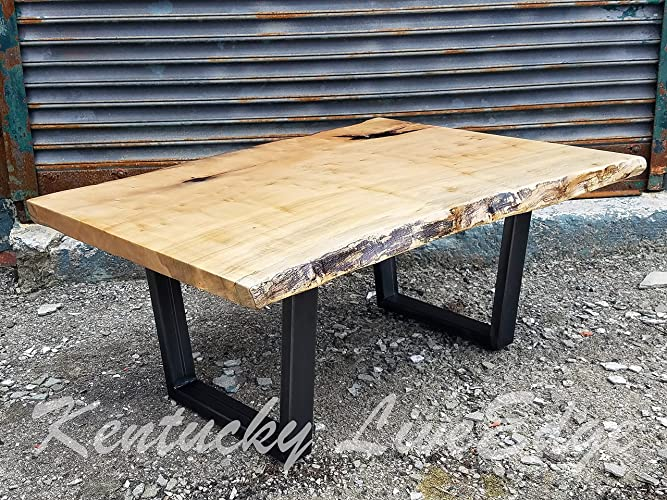 Industrial Live Edge Coffee Table  Ambrosia Maple  Steel Legs  Modern   Rustic