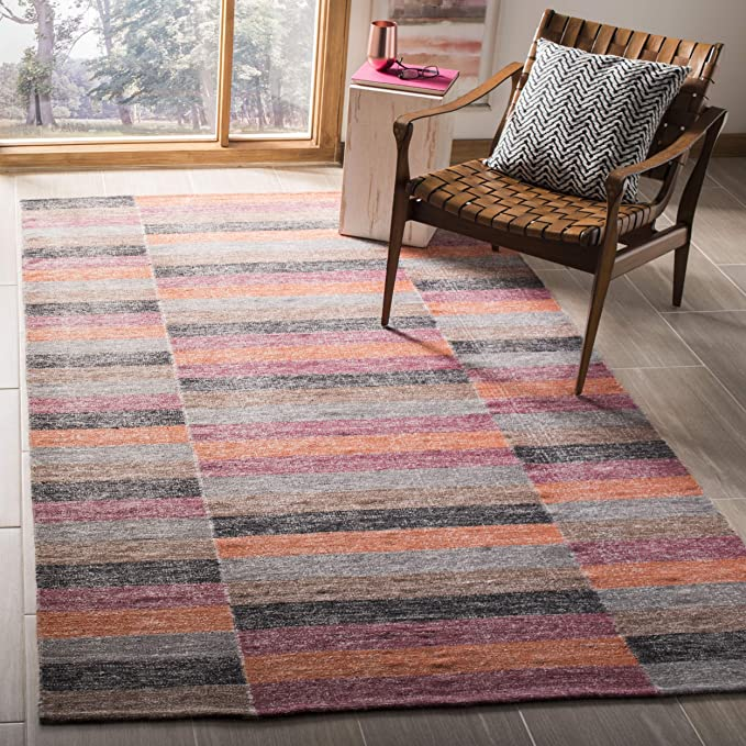 Safavieh Striped Kilim Collection Stk411a Handmade Flatweave Cotton Area Rug 8 X 10 Rust Furniture Decor