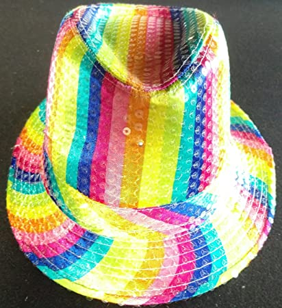 66b1c0fa15ce2 Image Unavailable. Image not available for. Color  blinkee LED Flashing  Fedora Hat with Rainbow Sequins by