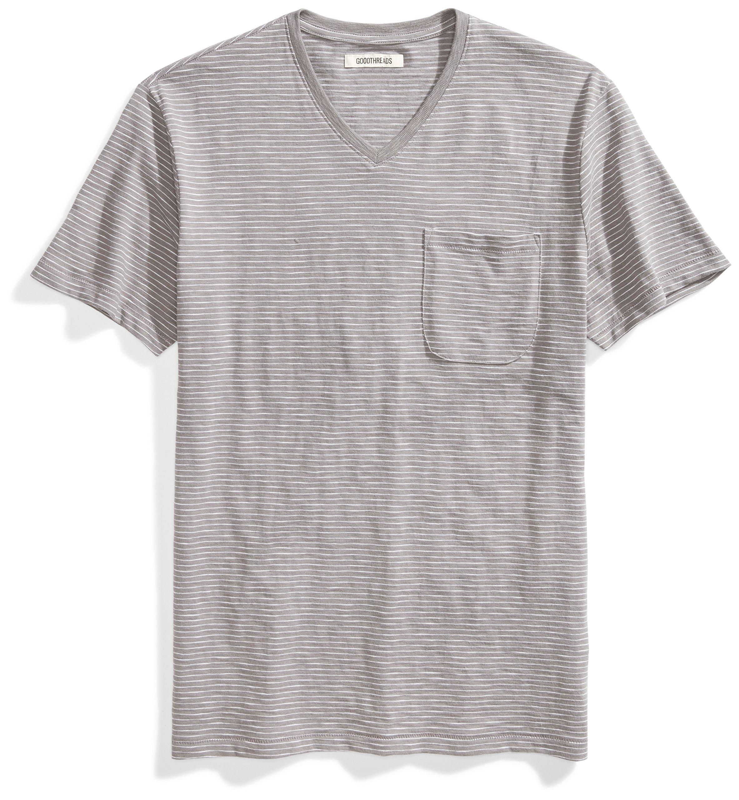 Goodthreads Men's Short-Sleeve V-Neck Striped Slub Pocket T-Shirt, Castle Rock/Grey/White Stripe, Medium