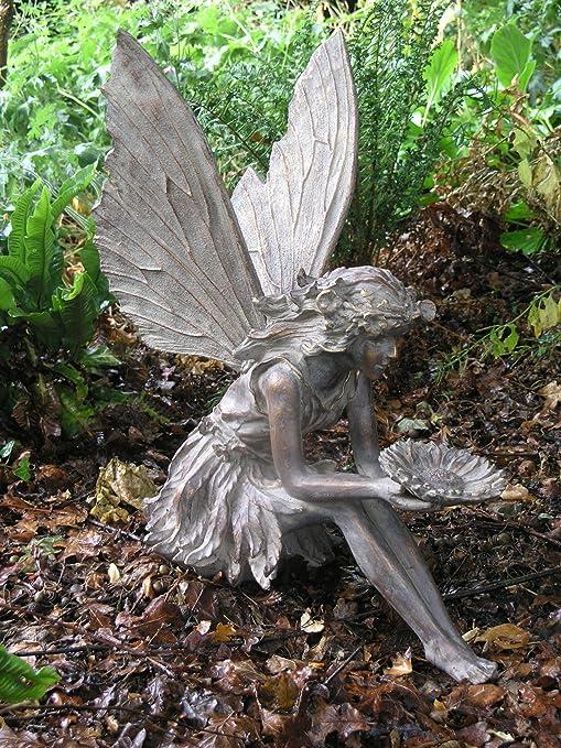 Adornos de jardín Grandes, Escultura de Hada sentada de Bronce Antiguo: Amazon.es: Jardín