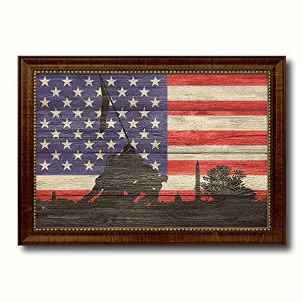 Iwo Jima WWII Veterans Memorial Textured Flag Art Canvas Print Office Wall Home Decor Bedroom Livingroom