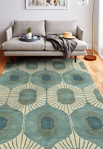 Bashian Chelsea Collection ST103 Hand Tufted 100 Wool Area Rug, 7.6 x 9.6 , Aqua