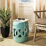 Safavieh Castle Gardens Collection Double Coin Light Blue Ceramic Garden Stool