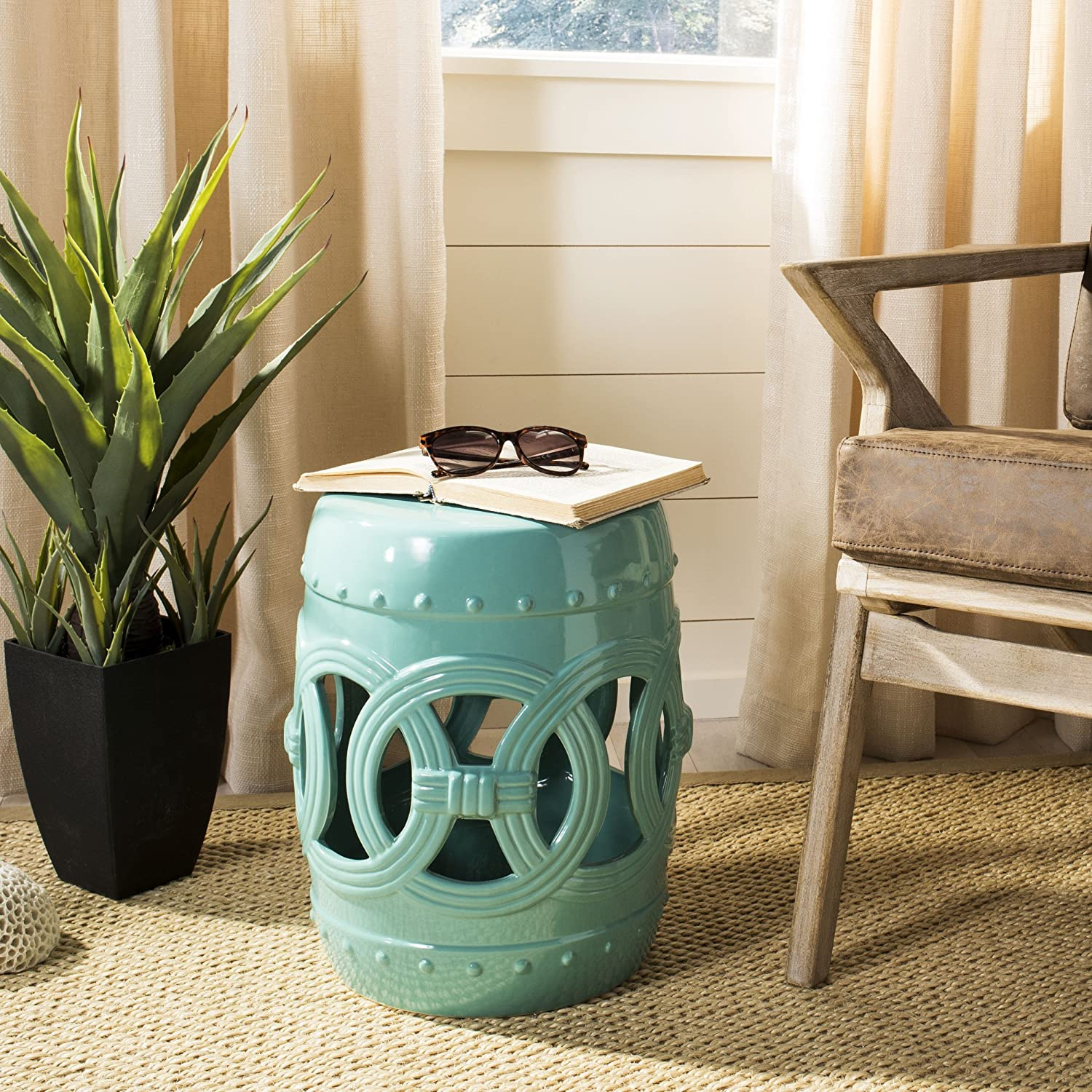 Remarkable Safavieh Castle Gardens Collection Double Coin Light Blue Ceramic Garden Stool Pabps2019 Chair Design Images Pabps2019Com