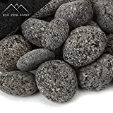 "Blue Ridge Brand™ Lava Rock - 25-Pound Tumbled Lava Stones for Fire Pit - 1"" Black/Gray Lava Pebbles - Fire Glass Substitute - Landscaping Rocks"