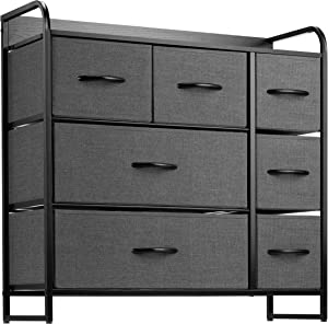 7 Drawer Dresser Organizer Fabric Storage Chest for Bedroom, Hallway, Entryway, Closets, Nurseries. Furniture Storage Tower Sturdy Steel Frame, Wood Top, Easy Pull Handle Textured Print Drawers