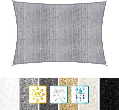 Imagen deLumaland toldo Vela de Sombra 100% Polietileno de Alta Densidad Filtro UV Incl Cuerdas Nylon 2x3 Gris Claro