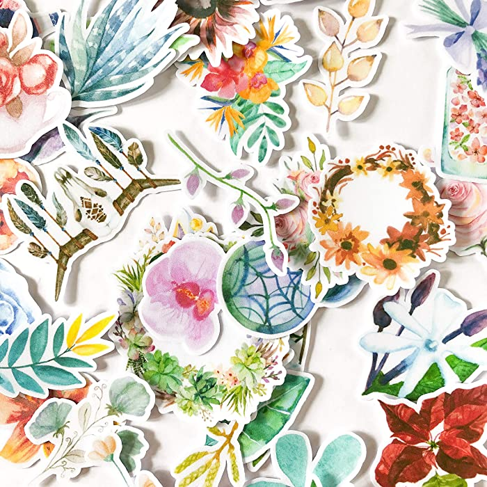 Navy Peony Garden of Dream Catcher, Spring Flower Plant and Nature Stickers | Cute Boho Stickers for Your Water Bottles, Laptops and Phones | Artsy Decals for Your Scrapbook and Planners (32 Pieces)
