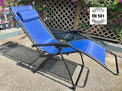 Eurolandia 90631. Tumbona de gravedad cero reclinable plegable de lujo. Azul marino. Con reposacabezas. De marca Eurolandia.