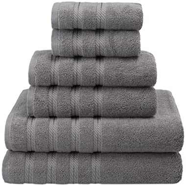 American Soft Linen Premium, Luxury Hotel & Spa Quality, 6 Piece Kitchen & Bathroom Turkish Towel Set, Cotton for Maximum Softness & Absorbency, [Worth $72.95] (Rockridge Grey)