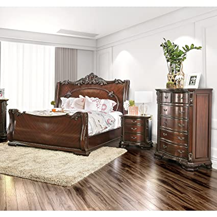 Ordinaire Furniture Of America Luxury Brown Cherry 3 Piece Baroque Style Bedroom Set  Queen